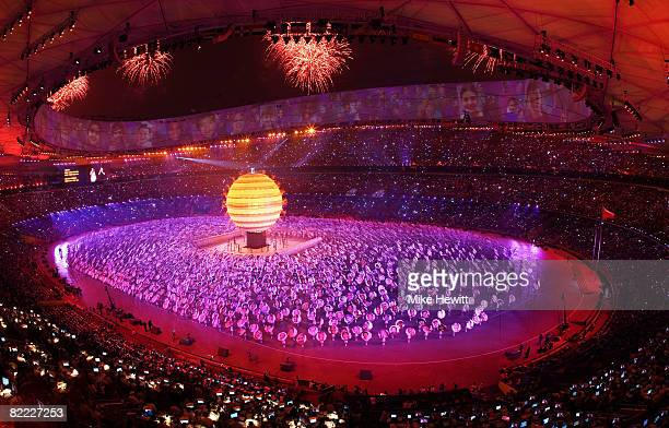 Performers take part in the the Opening Ceremony for the Beijing 2008 Olympic Games at the National Stadium on August 8 in Beijing China