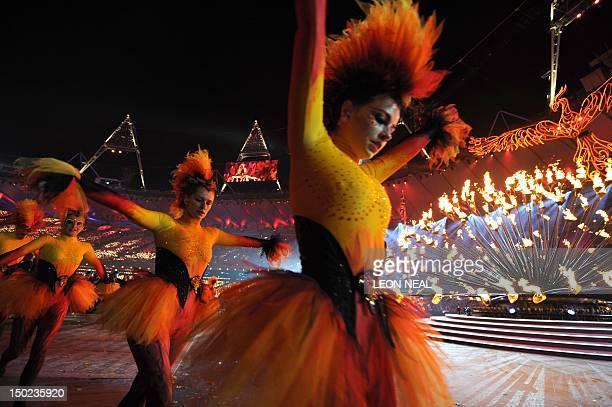 Performers take part inside the Olympic stadium during the closing ceremony of the 2012 London Olympic Games in London on August 12 2012 Rio de...