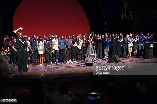 Performers take their curtain call during Uprising Of Love A Benefit Concert For Global Equality at the Gershwin Theatre on September 15 2014 in New...