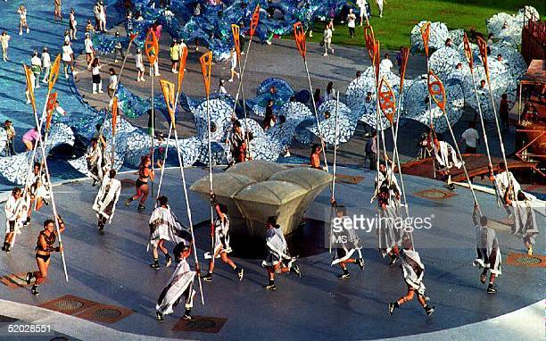 Performers train for the opening ceremony of the Barcelona '92 Olympic Games at a general rehearsal session in the Olympic stadium 11 July 1992