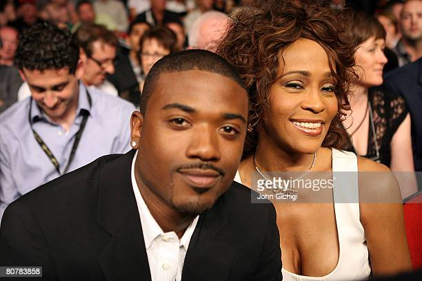 Performers Whitney Houston and RayJ sit ringside for the Joe Calzaghe of Wales and Bernard Hopkins light heavyweight bout at Thomas Mack Center on...