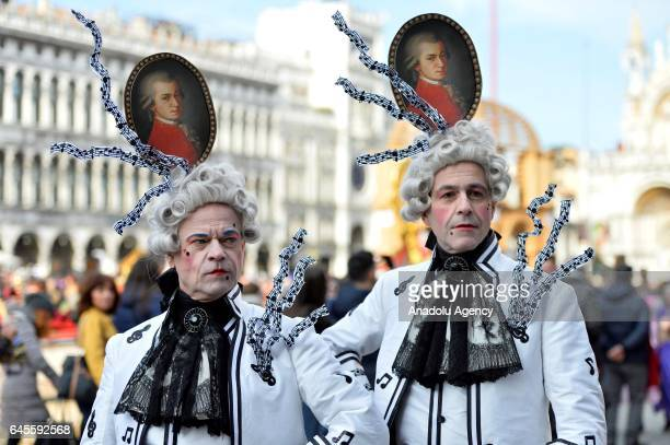 Performers with costumes attend the Venice Carnival in Venice Italy on January 26 2017