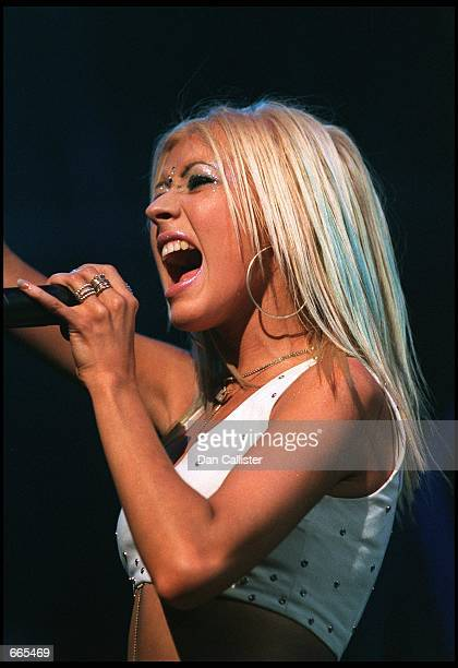 Performing artist Christina Aguilera sings on stage at Tiger Jam III October 7 2000 at the Mandalay Bay Hotel in Las Vegas during the third annual...