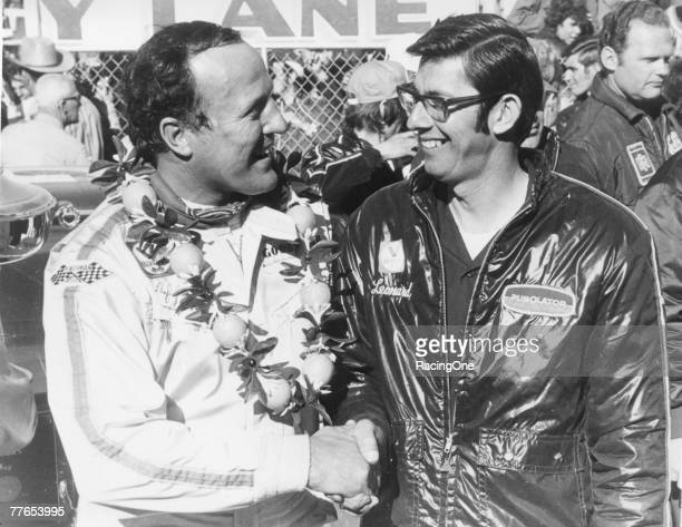Performing at perhaps the peak of his driving career AJ Foyt celebrates his 1972 Daytona 500 victory with car owner and crew chief Leonard Wood