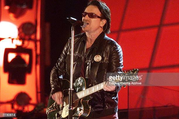 U2 performing at the 44th Annual Grammy Awards at the Staples Center in Los Angeles CA 2/27/2002