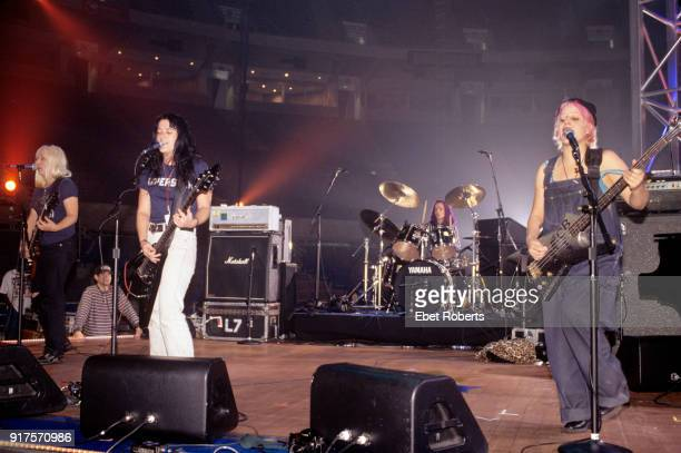 L7 performing at the Elvis Tribute at the Pyramid in Memphis Tennessee on October 8 1994