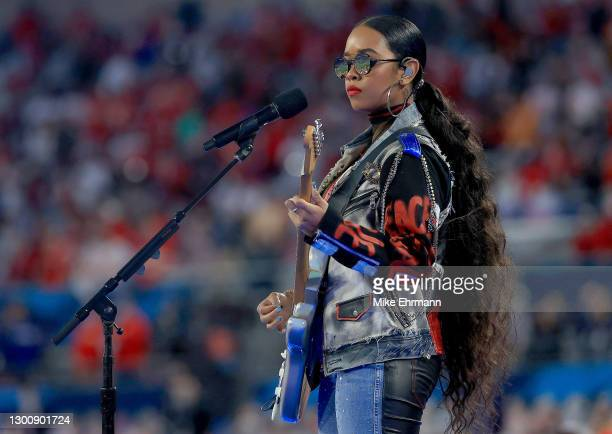"""Performs """"America The Beautiful"""" before Super Bowl LV between the Tampa Bay Buccaneers and the Kansas City Chiefs at Raymond James Stadium on..."""