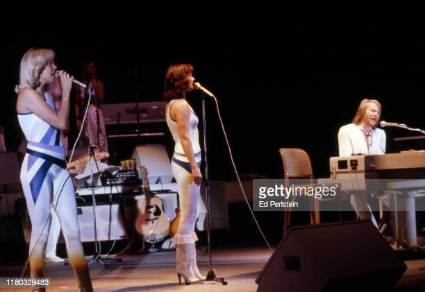 Agnetha Fältskog AnniFrid Lyngstad and Benny Andersson performs at Concord Pavilion on September 19 1979 in Concord California