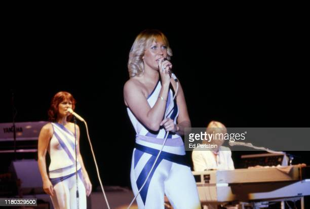 AnniFrid Lyngstad Agnetha Fältskog and Benny Andersson performs at Concord Pavilion on September 19 1979 in Concord California