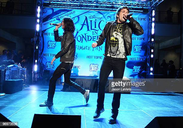 3OH3 performs at the Alice In Wonderland Great Big Ultimate Fan Event at Hollywood Highland Courtyard on February 19 2010 in Hollywood California