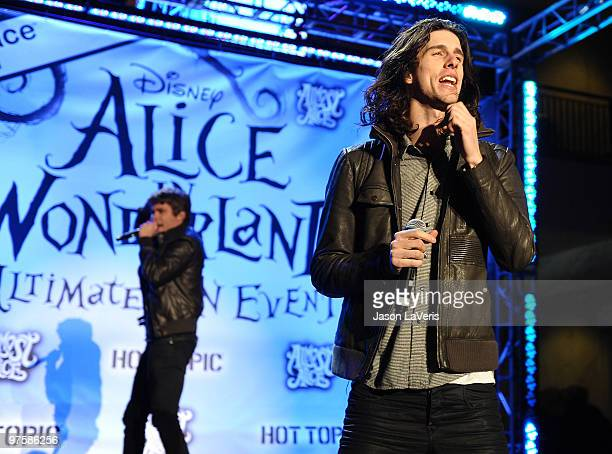 3OH3 performs at the 'Alice In Wonderland' Great Big Ultimate Fan Event at Hollywood Highland Courtyard on February 19 2010 in Hollywood California