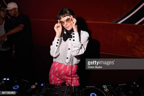 DJ performs at the Miu Miu aftershow party as part of the Paris Fashion Week Womenswear Spring/Summer 2018 at Boum Boum on October 3 2017 in Paris...