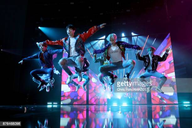 BTS performs 'DNA' onstage during the 2017 American Music Awards at Microsoft Theater on November 19 2017 in Los Angeles California