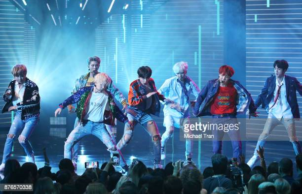 BTS performs 'DNA' onstage during the 2017 American Music Awards held at Microsoft Theater on November 19 2017 in Los Angeles California