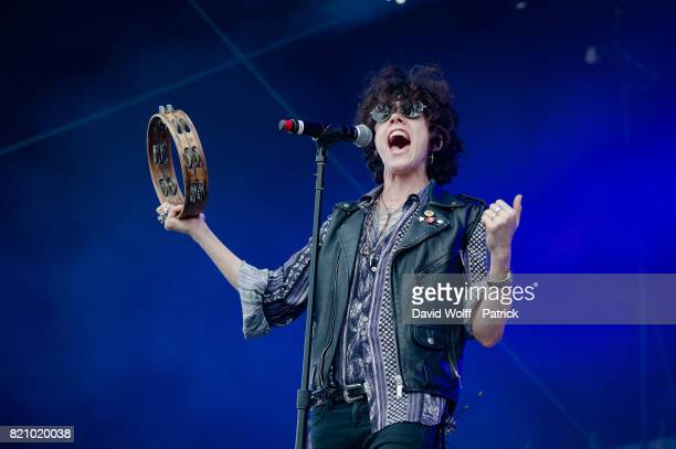 LP performs during first Lollapalooza in France at Hippodrome de Longchamp on July 22 2017 in Paris France