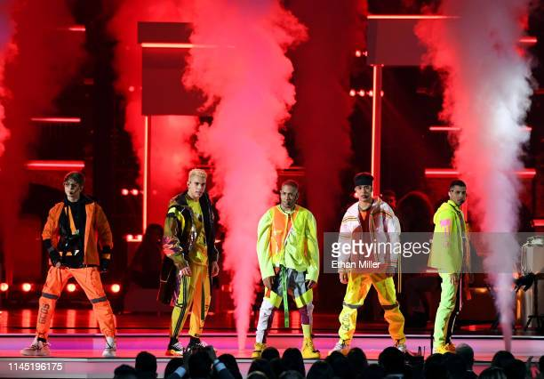 CNCO performs during the 2019 Billboard Latin Music Awards at the Mandalay Bay Events Center on April 25 2019 in Las Vegas Nevada