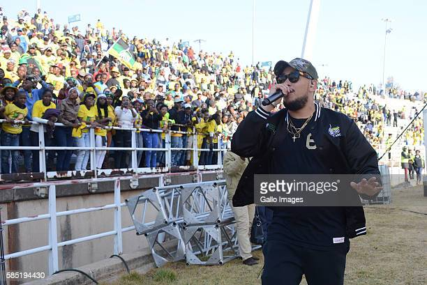AKA performs during the African National Congress Siyanqoba rally at Ellis Park Stadium on July 31 2016 in Johannesburg South Africa This event is...