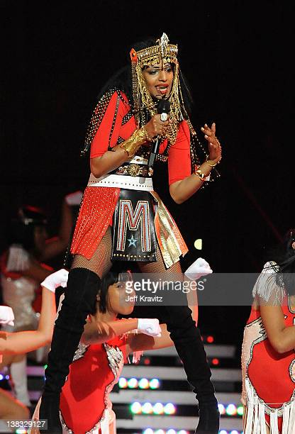 A performs during the Bridgestone Super Bowl XLVI Halftime Show at Lucas Oil Stadium on February 5 2012 in Indianapolis Indiana