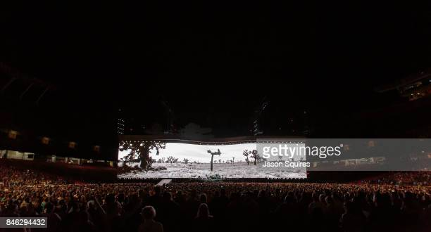 U2 performs during the Joshua Tree Tour at Arrowhead Stadium on September 12 2017 in Kansas City Missouri