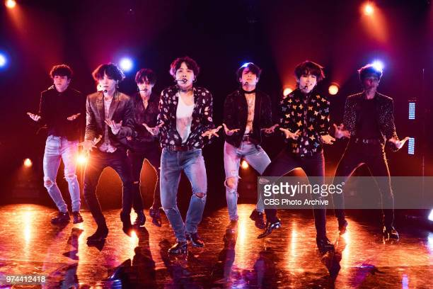 BTS performs during The Late Late Show with James Corden Tuesday June 12 2018 On the CBS Television Network