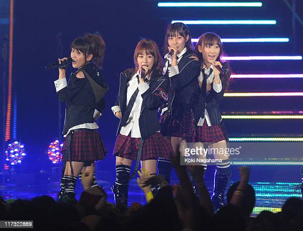 AKB48 performs during the MTV Video Music Aid Japan at Makuhari Messe on June 25 2011 in Chiba Japan