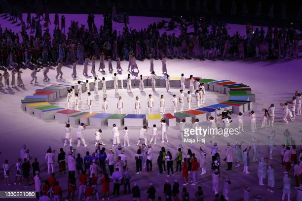 Performs during the Opening Ceremony of the Tokyo 2020 Olympic Games at Olympic Stadium on July 23, 2021 in Tokyo, Japan.