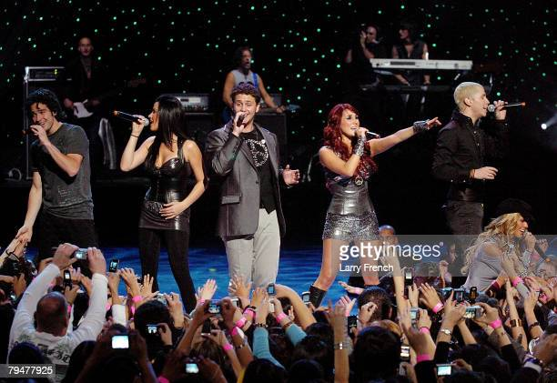 RBD performs during the Pepsi Musica Super Bowl Fiesta at the Jobingscom Arena on February 1 2008 in Glendale Arizona