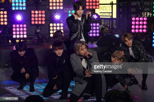 BTS performs during the Times Square New Year's Eve 2020 Celebration on December 31 2019 in New York City