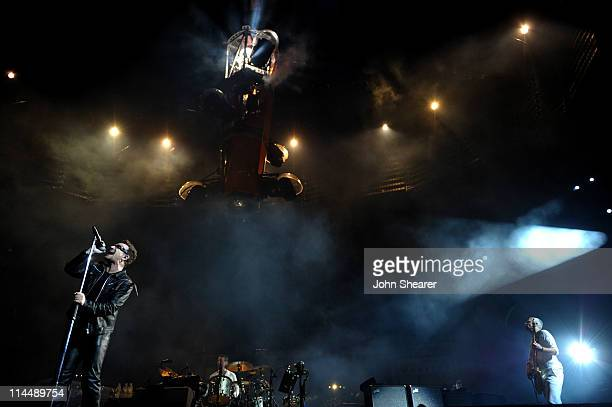 U2 performs during the U2 360 Tour at INVESCO Field at Mile High on May 21 2011 in Denver Colorado