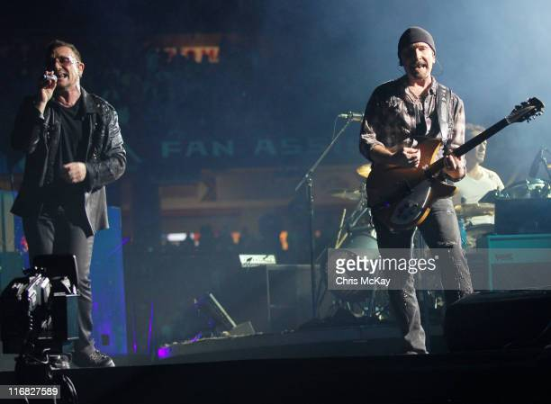 U2 performs during the U2360 tour at the Georgia Dome on October 6 2009 in Atlanta