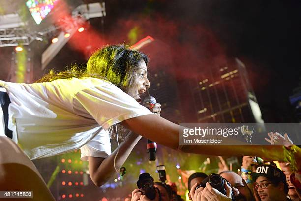 A performs during the Ultra Music Festival at Bayfront Park Amphitheater on March 28 2014 in Miami Florida