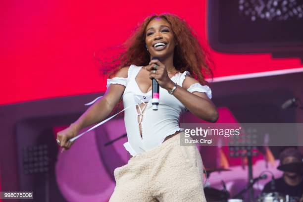 Anderson Paak and SZA pose on day 1 of Lovebox festival at Gunnersbury Park on July 13 2018 in London England
