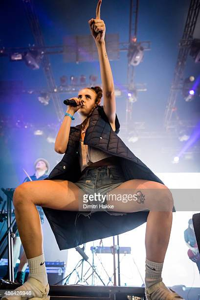 MØ performs on stage at Lowlands Festival at Evenemententerrein Walibi World on August 22 2015 in Biddinghuizen Netherlands