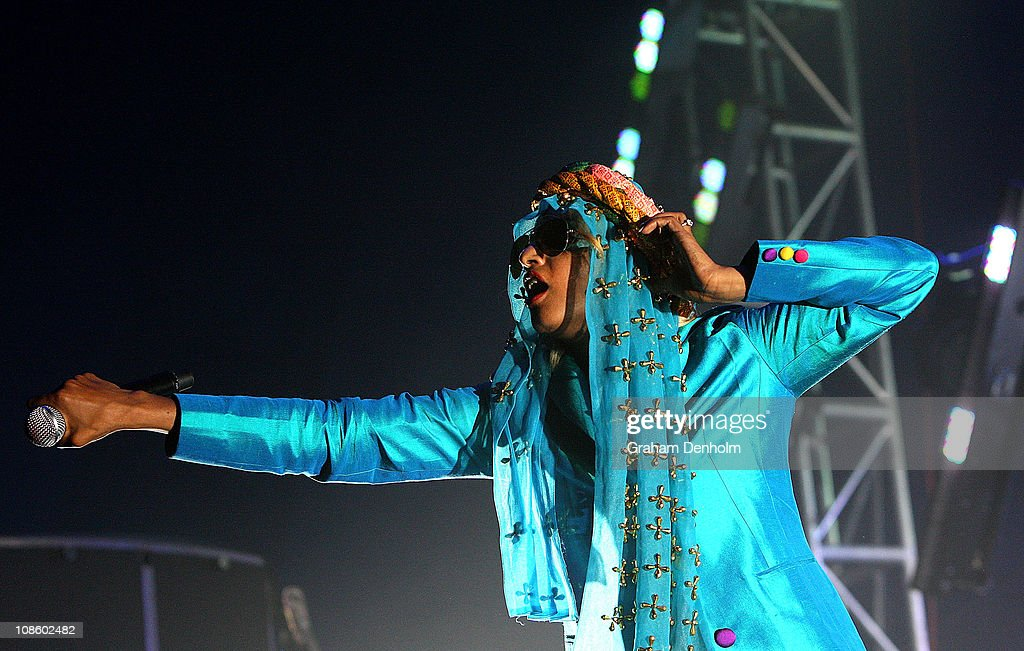 A. performs on stage during the Big Day Out Festival at Flemington Racecourse on January 30, 2011 in Melbourne, Australia.