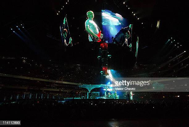 U2 performs on stage during the South America leg of their 360 Degree Tour at Estadio Azteca on May 11 2011 in Mexico City Mexico