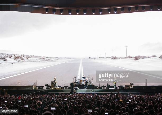U2 performs on stage during their 'The Joshua Tree World Tour' opener at BC Place on May 12 2017 in Vancouver Canada