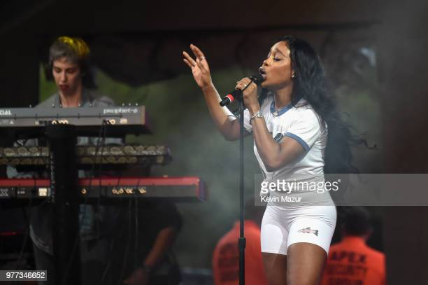 SZA performs on the Backyard Stage during the 2018 Firefly Music Festival on June 17 2018 in Dover Delaware