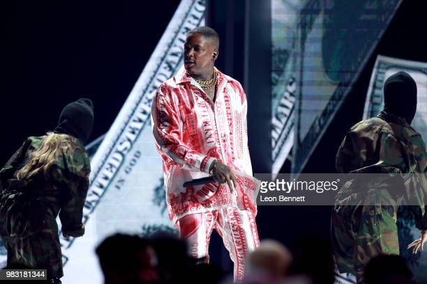 YG performs onstage at the 2018 BET Awards at Microsoft Theater on June 24 2018 in Los Angeles California