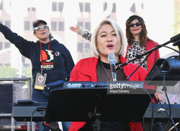 MILCK performs onstage at the 2019 Women's March Los Angeles on January 19 2019 in Los Angeles California
