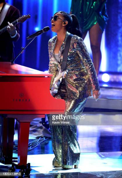 Performs onstage at the 2021 iHeartRadio Music Awards at The Dolby Theatre in Los Angeles, California, which was broadcast live on FOX on May 27,...