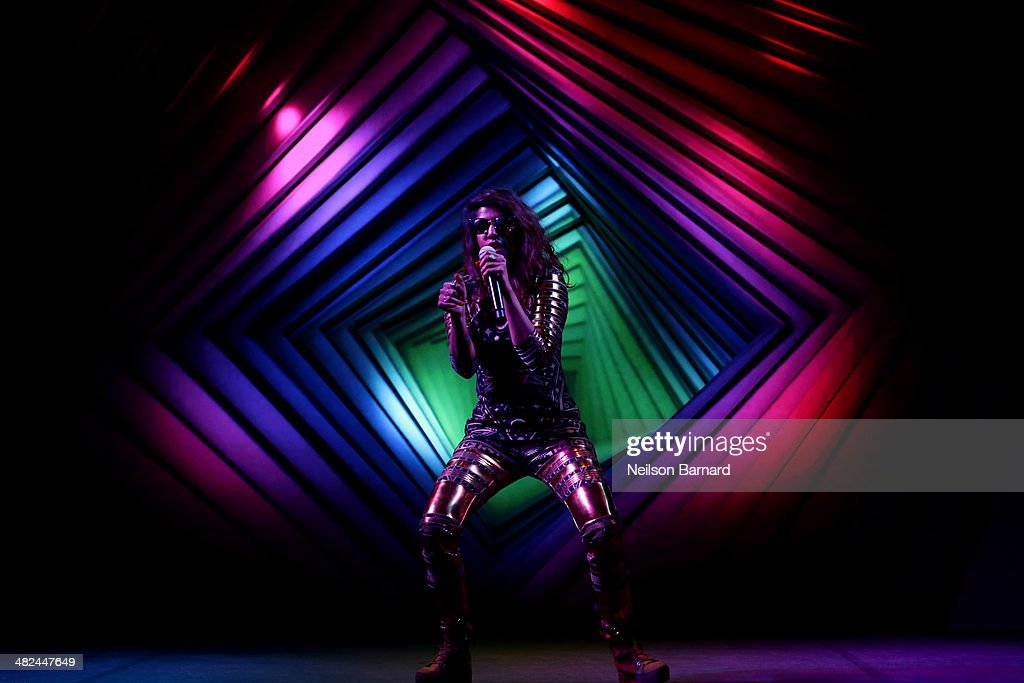 A. performs onstage at the Audi A3 Launch Event with M.I.A. on April 3, 2014 at SIR Stage37 in New York City.