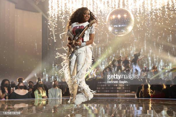 Performs onstage at the BET Awards 2021 at Microsoft Theater on June 27, 2021 in Los Angeles, California.