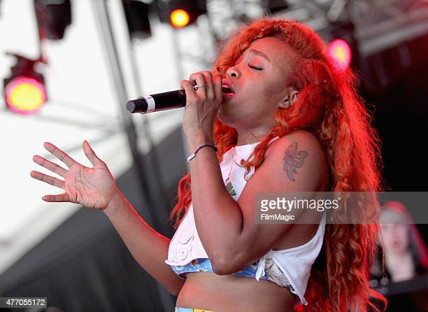 SZA performs onstage at The Other Tent during Day 3 of the 2015 Bonnaroo Music And Arts Festival on June 13 2015 in Manchester Tennessee