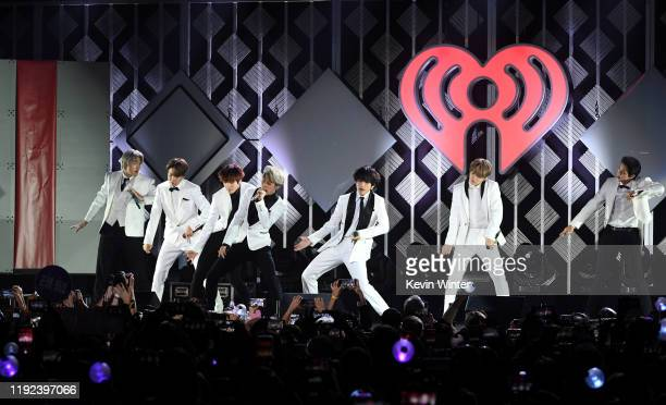 BTS performs onstage during 1027 KIIS FM's Jingle Ball 2019 Presented by Capital One at the Forum on December 6 2019 in Los Angeles California