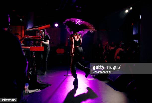 SZA performs onstage during Billboard and Mastercard present an intimate night with SZA at Mastercard House on January 24 2018 in New York City
