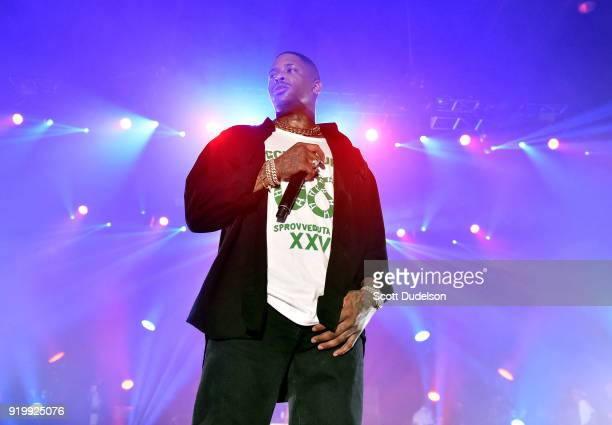 YG performs onstage during his first annual Nighttime Boogie Concert at The Shrine Auditorium on February 17 2018 in Los Angeles California