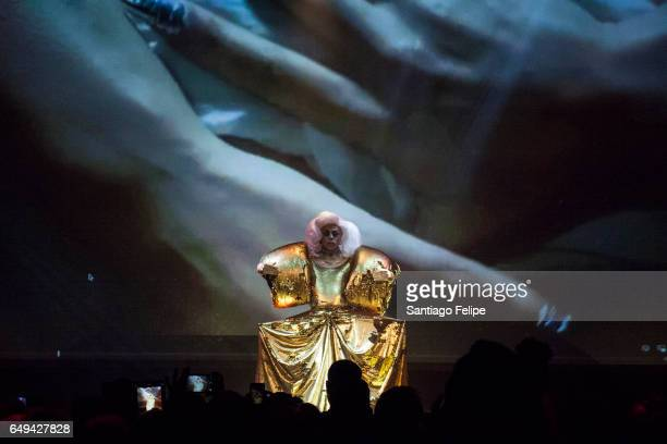 AJA performs onstage during RuPaul's Drag Race Season 9 Premiere Party Meet The Queens Event at PlayStation Theater on March 7 2017 in New York City