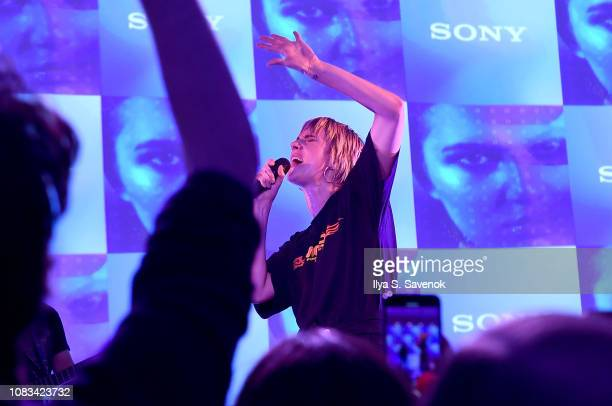 MØ performs onstage during Sony's Lost In Music Tech And Music Popup Experience on January 16 2019 in New York City