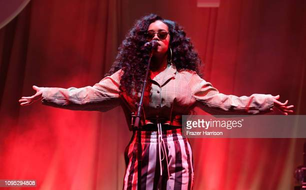 R performs onstage during Spotify Best New Artist 2019 party at Hammer Museum on February 7 2019 in Los Angeles California