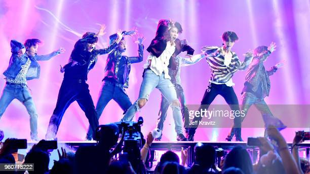 BTS performs onstage during the 2018 Billboard Music Awards at MGM Grand Garden Arena on May 20 2018 in Las Vegas Nevada
